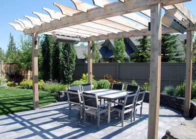 courtyard wooden pergola
