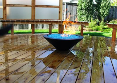 Beautifully polished hardwood deck privacy screen