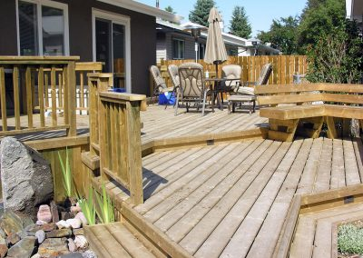 custom made wood deck with bench