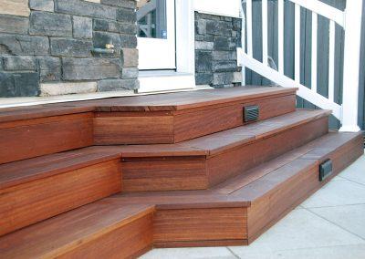 custom made wood deck stair lights