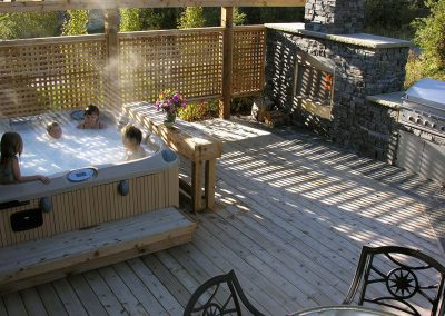 Landscaping Calgary hot tub on your beautiful hardwood deck