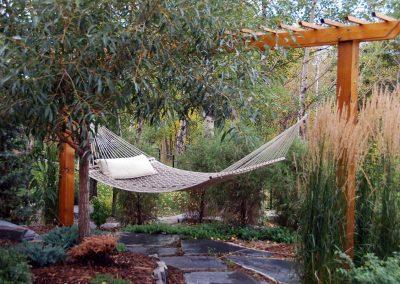 calgary designer hammock backyard garden design outdoor space outdoor oasis backyard idea