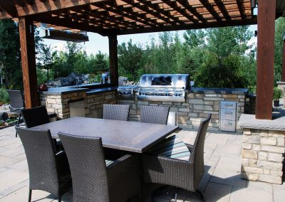 Landscaping Calgary outdoor kitchen barbeque entertaining area