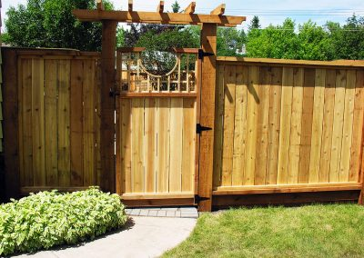 wooden fence calgary backyard landscaping designers