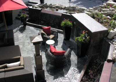 Landscaping Calgary courtyard stone water feature