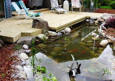 beautiful hardwood deck koi pond