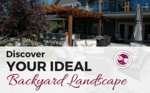 "Text overlayed on a landscaped background that reads ""Discover your ideal backyard landscape"" with the Ananda Landscapes logo on the right of it"