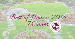 "Landscaped backyard with text overtop that read"" Best of Houzz 2018 Winner"" and the Ananda Landscapes logo"