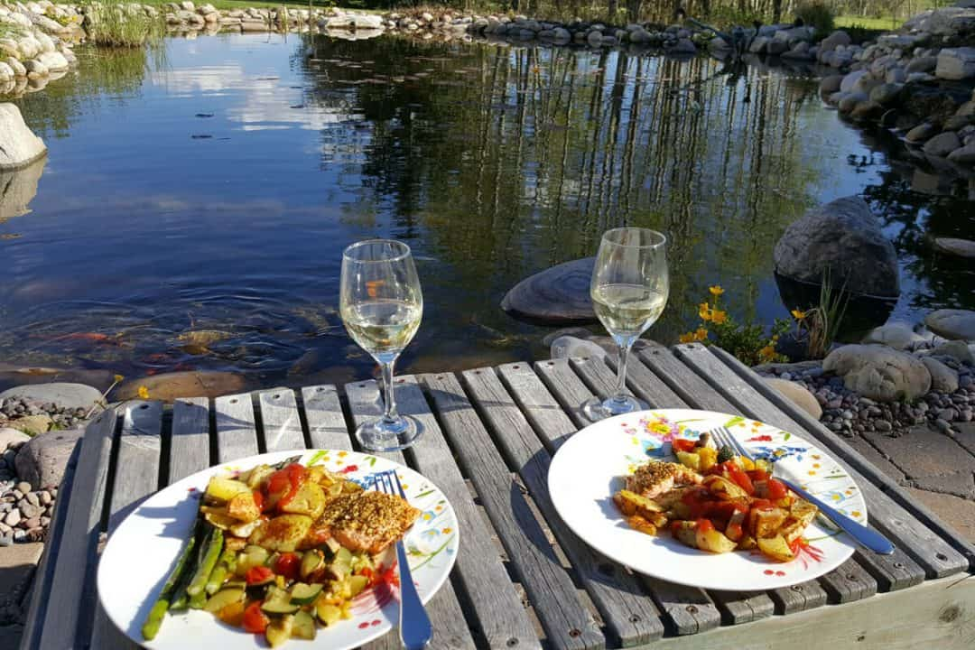 Dinner for two in a backyard overlooking a koi fish pond in Calgary