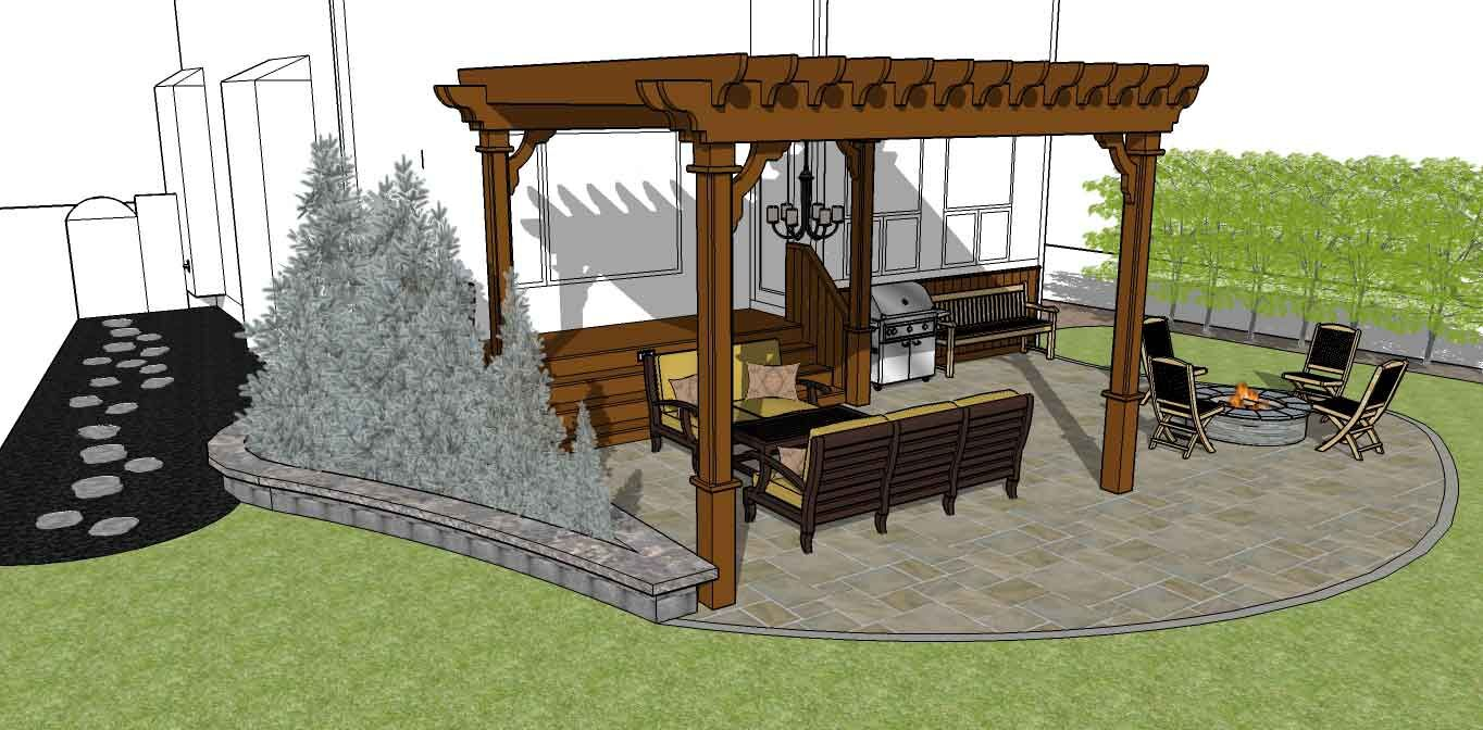 3D sketch planning a Calgary backyard and accompanying patio furniture
