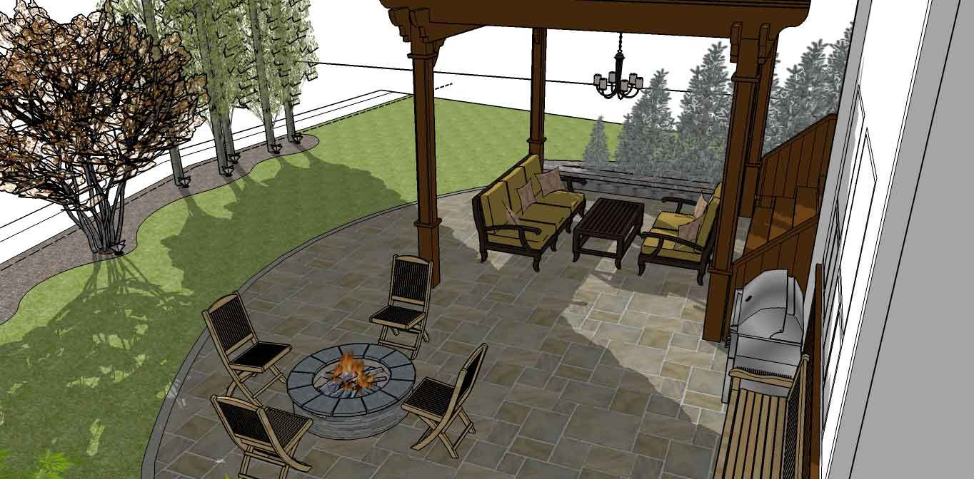 3D planning sketch of a Calgary backyard featuring a fire pit, gazebo, and outdoor kitchen