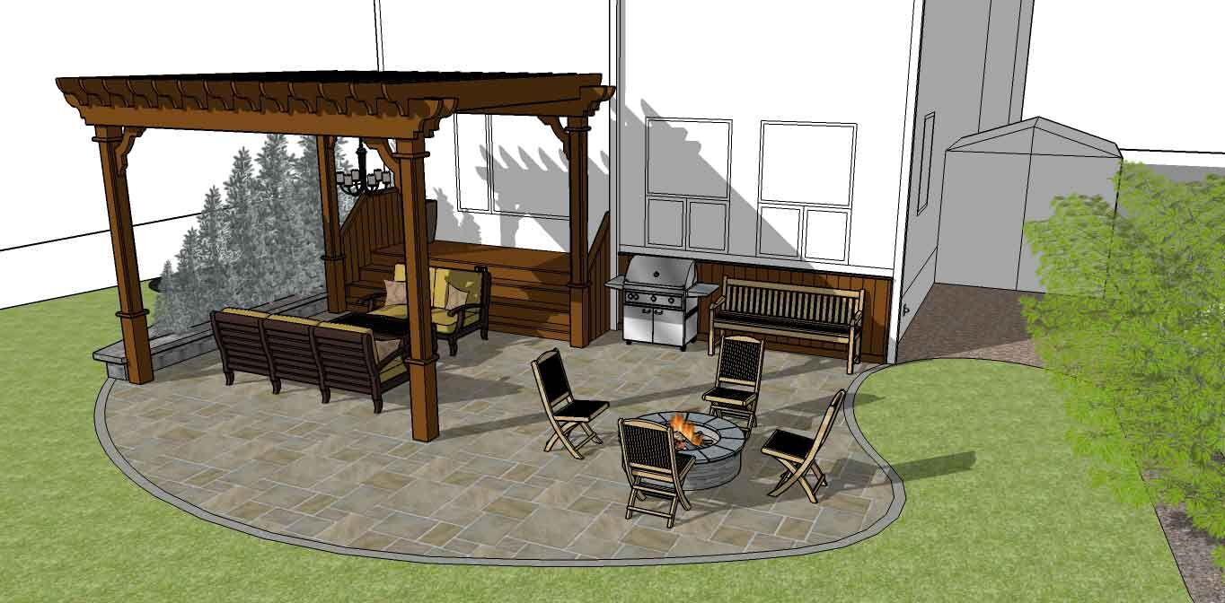 3D sketch of a backyard fire pit and kitchen designed by Ananda Landscapes